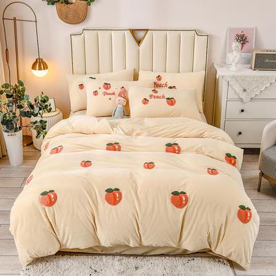 2020新款高克重宝宝绒可爱桃蜜桃多多毛巾绣四件套 1.8m床单款四件套 蜜桃多多-米黄