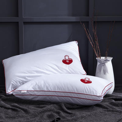 爱情锁情侣枕芯全棉刺绣48*74(爱情锁红) 爱情锁红