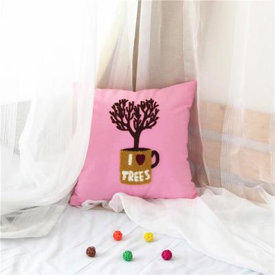 毛线复合绣抱枕(tree粉红色) 磨毛内胆45x45cm 粉红色