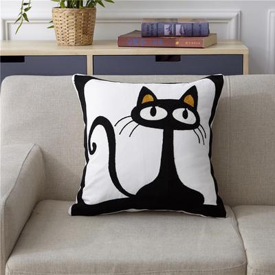 新款全棉毛巾复合秀抱枕靠枕(黑猫) 45x45cm 黑猫