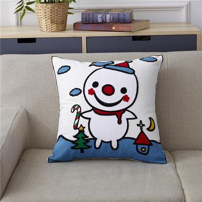 新款全棉毛巾复合秀抱枕靠枕(雪人) 45x45cm 雪人