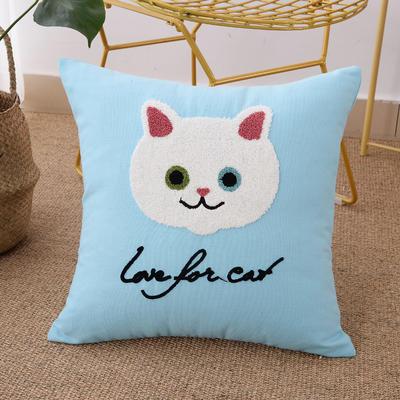 毛线复合绣抱枕(Cat天蓝色) 磨毛内胆45x45cm 天蓝色