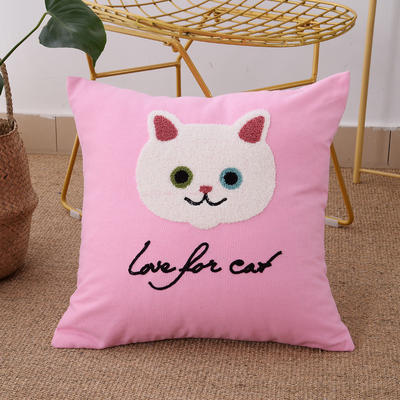 毛线复合绣抱枕(Cat粉红色) 磨毛内胆45x45cm Cat(粉红色)