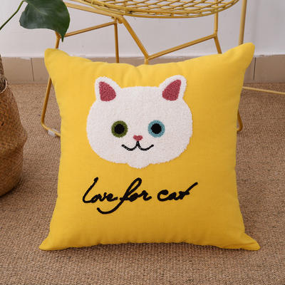 毛线复合绣抱枕(Cat黄色) 磨毛内胆45x45cm Cat(黄色)