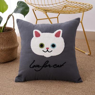 毛线复合绣抱枕(Cat灰色) 磨毛内胆45x45cm Cat灰色
