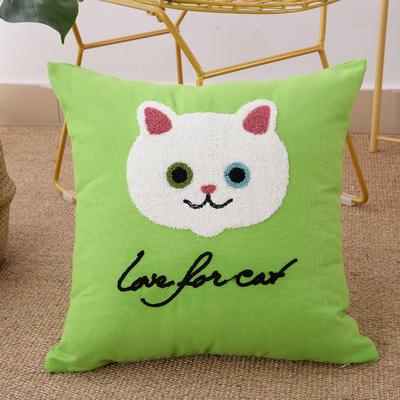 毛线复合绣抱枕(Cat绿色) 磨毛内胆45x45cm Cat绿色