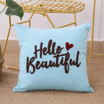 毛线复合绣抱枕(hello天蓝色) 磨毛内胆45x45cm 天蓝色