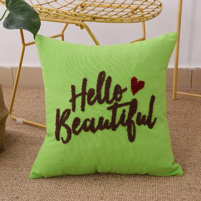 毛线复合绣抱枕(hello绿色) 磨毛内胆45x45cm 绿色
