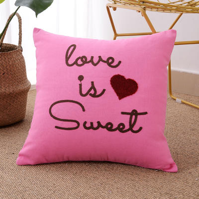 毛线复合绣抱枕(love粉红色) 磨毛内胆45x45cm 粉红色