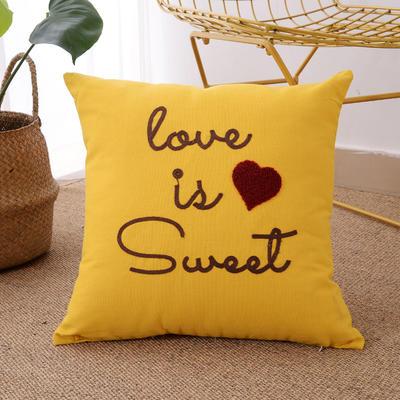 毛线复合绣抱枕(love黄色) 磨毛内胆45x45cm love黄色