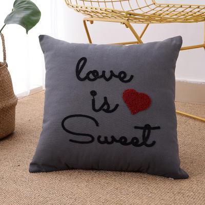 毛线复合绣抱枕(love灰色) 磨毛内胆45x45cm love灰色