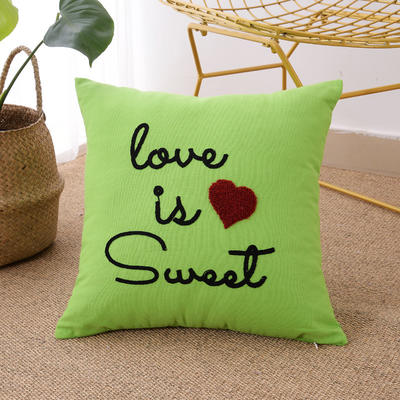 毛线复合绣抱枕(love绿色) 磨毛内胆45x45cm 绿色