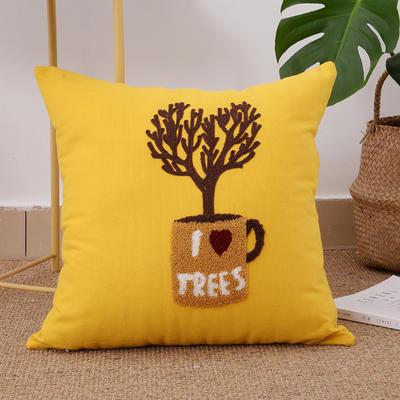 毛线复合绣抱枕(tree黄色) 磨毛内胆45x45cm 黄色