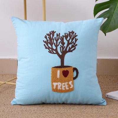 毛线复合绣抱枕(tree天蓝色) 单套子 天蓝色