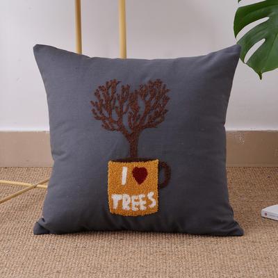 毛线复合绣抱枕(tree灰色) 磨毛内胆45x45cm tree灰色