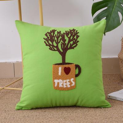 毛线复合绣抱枕(tree绿色) 磨毛内胆45x45cm 绿色