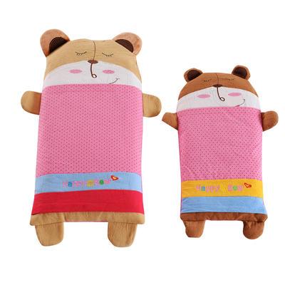 全棉卡通儿童荞麦枕 宝宝熊-粉25*52cm