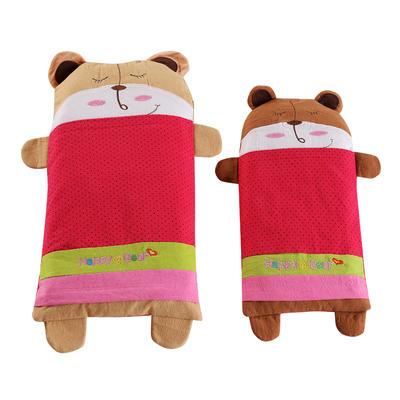 全棉卡通儿童荞麦枕 宝宝熊-红25*52cm