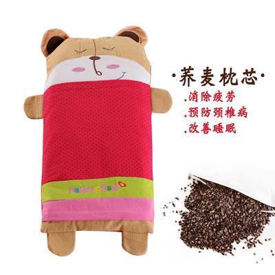 全棉卡通儿童荞麦枕(宝宝熊-红) 宝宝熊-红 25*52cm