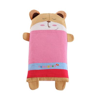 全棉卡通儿童小米壳枕头(熊宝宝-粉) 熊宝宝-粉 大号(32*62cm)