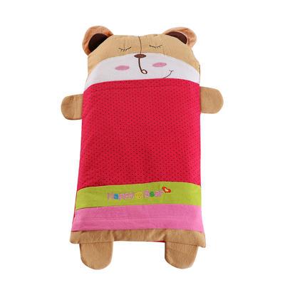 全棉卡通儿童小米壳枕头(熊宝宝-红) 熊宝宝-红大号(32*62cm)