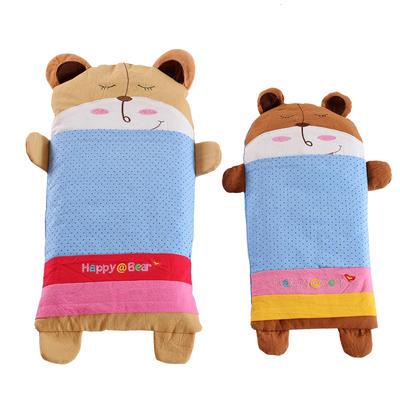 全棉卡通儿童小米壳枕头(熊宝宝-蓝) 熊宝宝-蓝大号(32*62cm)