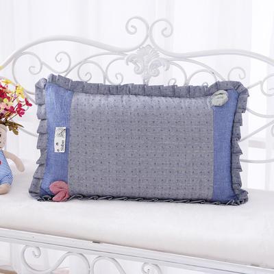 纯色纯棉水洗棉荞麦枕花边枕(56*38cm) 蓝色
