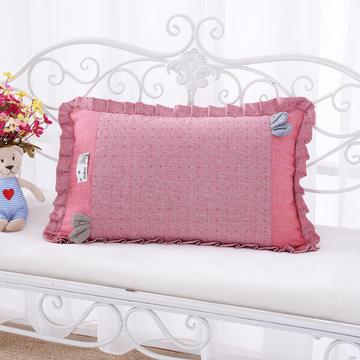纯色纯棉水洗棉荞麦枕花边枕(56*38cm粉色)