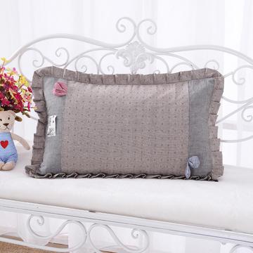 纯色纯棉水洗棉荞麦枕花边枕(56*38cm咖色)