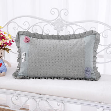 纯色纯棉水洗棉荞麦枕花边枕(40*60cm绿色)