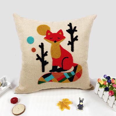 卡通毛巾复合绣细棉麻抱枕(狐仙) 45x45cm 狐仙