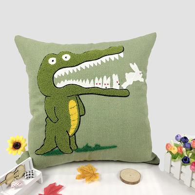 卡通毛巾复合绣细棉麻抱枕 45x45cm 小鳄鱼