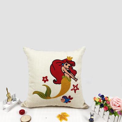 卡通毛巾复合绣细棉麻抱枕(美人鱼) 45x45cm 美人鱼