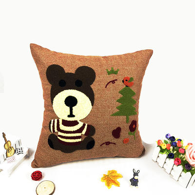 卡通毛巾复合绣细棉麻抱枕(小熊) 45x45cm 小熊
