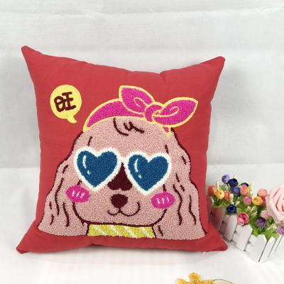 旺财狗毛巾复合绣抱枕靠枕 45x45cm 妞妞