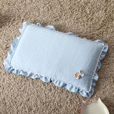 明星枕业 荞麦枕水洗棉蝴蝶结(30*50) 气质蓝