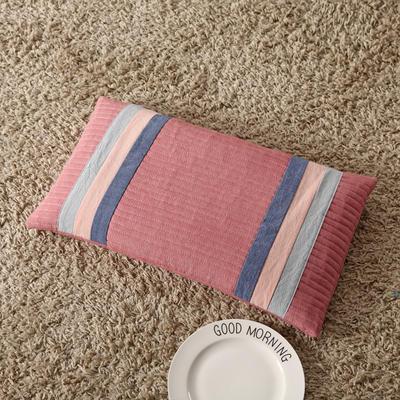 2018新款-荞麦枕纯棉水洗棉绗缝枕 豆沙红