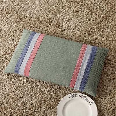 2018新款-荞麦枕纯棉水洗棉绗缝枕 复古绿