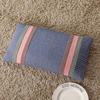 2018新款-荞麦枕纯棉水洗棉绗缝枕 牛仔蓝