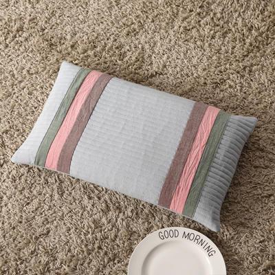 2018新款-荞麦枕纯棉水洗棉绗缝枕 浅蓝色