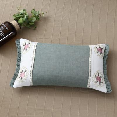 2018新款-全棉绣花荞麦枕50*30cm 绿荷