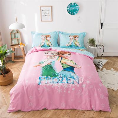 2019新款-迪士尼纯棉四件套 三件套1.2m(4英尺)床 爱莎和安娜1