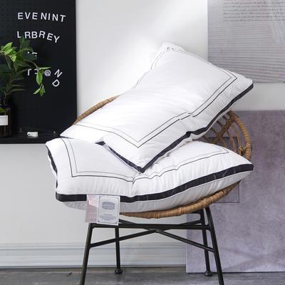 2019新款-全棉贡缎立体北欧风情仪征纯丝绒枕芯 48*74白色