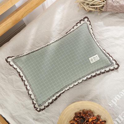 2019新款-纯棉水洗棉格子荞麦枕(30*50) 绿格
