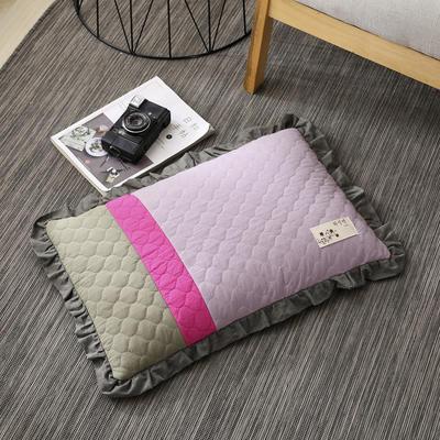 2019新款-全棉砂洗拼色荞麦枕(35*55cm) 拼色-紫1