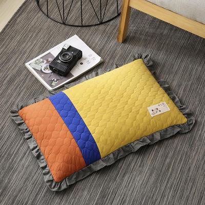 2019新款-全棉砂洗拼色荞麦枕(35*55cm) 拼色-黄