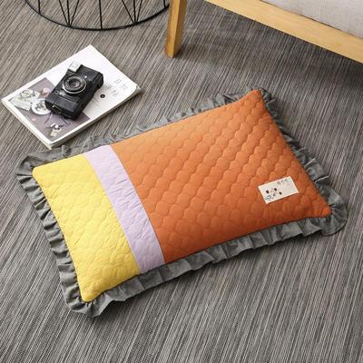 2019新款-全棉砂洗拼色荞麦枕(35*55cm) 拼色-橘
