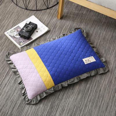 2019新款-全棉砂洗拼色荞麦枕(35*55cm) 拼色-蓝