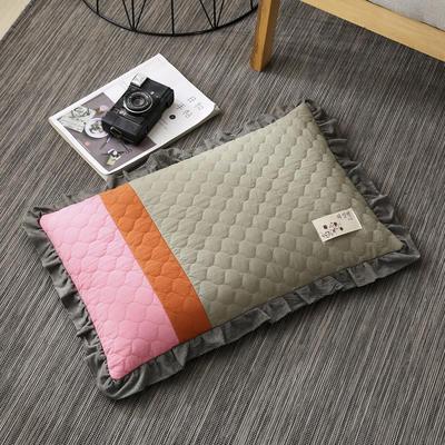 2019新款-全棉砂洗拼色荞麦枕(35*55cm) 拼色-绿