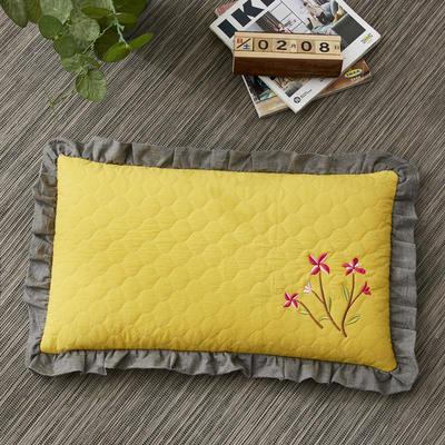 2019新款-全棉砂洗刺绣荞麦枕(30*50cm) 砂洗黄色